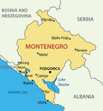 Montenegro - map of the country - vector Stock Photo