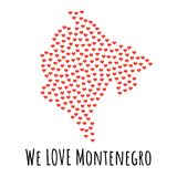 Montenegro Map with red hearts - symbol of love. abstract background Royalty Free Stock Photos