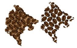 Montenegro - mapa do feijão de café ilustração stock