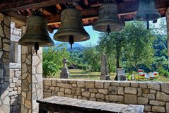 Montenegro Moraca monastery bells. Bells next to the graveyard of a Monastery in Montenegro, called Moraca Royalty Free Stock Photos