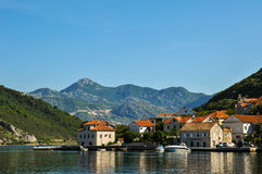 Montenegro morning view. Montenegro. Views of the coastal town on the background of mountains stock images