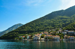 Montenegro morning view. Montenegro. Views of the coastal town on the background of mountains Stock Image