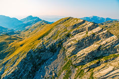 Montenegro mountain range - aerial. Helicopter aerial photo at Durmitor national park mountain range in the Montenegro continental part Stock Photo
