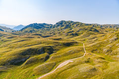Montenegro mountains hiking trail - aerial Stock Images