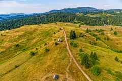 Montenegro mountains meadows aerial Royalty Free Stock Photography
