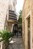 Montenegro: the narrowest street in the old Budva Royalty Free Stock Photo