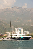 Montenegro: Ocean yacht on the quay in Budva Stock Photography
