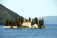 Montenegro - old medieval church on island Stock Photography