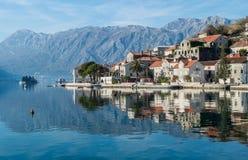 montenegro perast在科教文组织之下的保护城镇 免版税库存照片