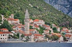 Montenegro Perast mening door boot Stock Afbeelding