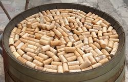 Pile of corks from wine bottles Royalty Free Stock Images