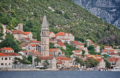 Montenegro Perast view by boat. Perast as seen from boat - Montenegro Stock Image