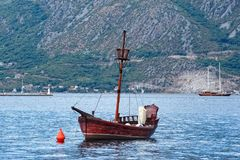 Pleasure boat in the form of an old ship. Montenegro, Perast, View of a pleasure boat in the form of an old ship in Boka-Kotorska bay Royalty Free Stock Images