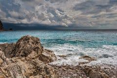 Montenegro Petrovac, härlig seascape Royaltyfri Fotografi