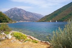 Montenegro. Picturesque view of Bay of Kotor Adriatic Sea on a sunny autumn day Royalty Free Stock Image
