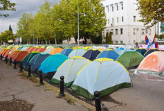 Montenegro protest. October 12, 2015 - Podgorica, Montenegro. Anti-government protestors set up dozens of tents on the road opposite the parliament building for Royalty Free Stock Photography