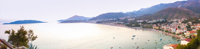 Montenegro, Rafailovici. Sunset view on sea beach Stock Photos