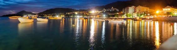 Montenegro, Rafailovici. Sunset view on sea beach Stock Images