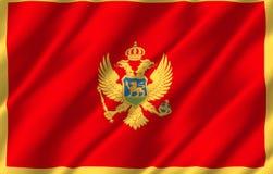 Montenegro realistisk flaggaillustration royaltyfri illustrationer