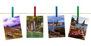 Montenegro reisbeelden mijn foto's op wasknijpers Stock Afbeelding