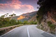Montenegro, right turn on mountain highway Stock Images