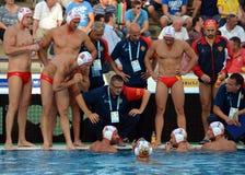 Montenegro's PEROVIC Ranko head coach talking about the tactics. Royalty Free Stock Photo