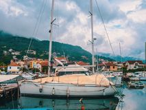 Montenegro. Seaport with yachts and boats in Kotor stock photo