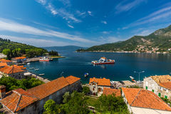 Montenegro seashore, Bay of Kotor. Beautiful landscape with Risan town ,sea and mountains. Montenegro Stock Images