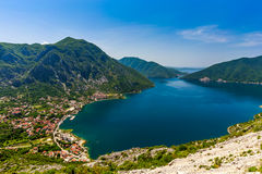 Montenegro seashore, Bay of Kotor. Beautiful landscape with Risan town ,sea and mountains. Montenegro Royalty Free Stock Photography