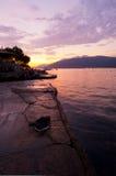 montenegro sjösidasolnedgång Fotografering för Bildbyråer