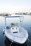 Montenegro small boat. Small boat moored on the front of the yachts royalty free stock photos