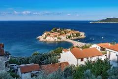 Montenegro, St Stefan eiland Stock Afbeeldingen