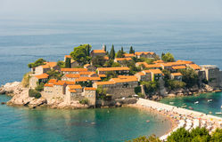 Montenegro: St. Stephen's Island. Montenegro - A state in south-eastern Europe, on the Adriatic coast of the Balkan Peninsula Stock Images