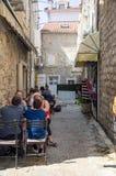 Montenegro: Street cafe in old Budva royalty free stock photo