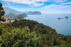 Montenegro summer sea Mountain Island. Montenegrin coast in the summer with a sea view stock images