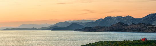 Montenegro sunset panorama. With hills and sea stock photos