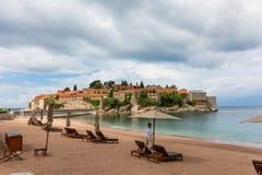 Montenegro Sveti Stefan Island, recurso, hotel de Amman imagem de stock royalty free