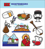 Montenegro tourism travel famous symbols and tourist culture landmarks vector icons Stock Photo