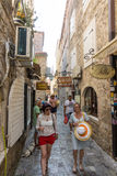 Montenegro: Tourists on the street of old Budva Royalty Free Stock Photography