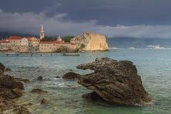 Montenegro, town Budva at sunset Royalty Free Stock Image