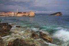 Montenegro, town Budva at sunset Royalty Free Stock Images