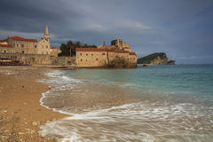 Montenegro, town Budva at sunset Royalty Free Stock Photo