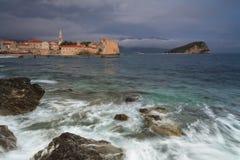 Montenegro, town Budva at sunset Royalty Free Stock Photos