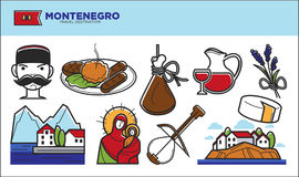 Montenegro travel destination promotional poster with country symbols Stock Photo