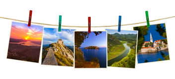 Montenegro travel images my photos on clothespins Royalty Free Stock Photos