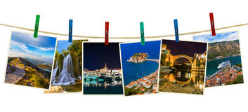 Montenegro travel images my photos on clothespins Stock Images