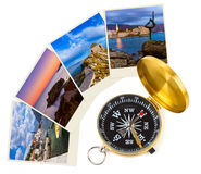 Montenegro travel images (my photos) and compass Royalty Free Stock Photos