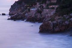 montenegro Ulcinj Kleurrijke zonsondergang Royalty-vrije Stock Foto's