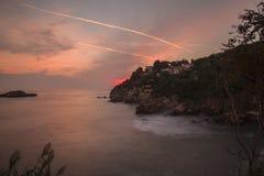 montenegro Ulcinj Kleurrijke zonsondergang Stock Afbeelding