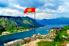 Montenegro. View of the bay of Kotor in Montenegro Stock Image